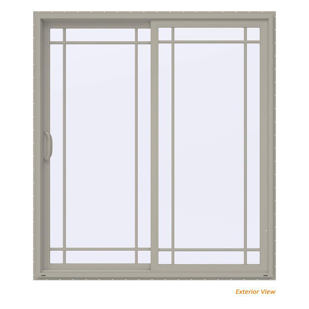 72 in. x 80 in. V-4500 Contemporary Desert Sand Vinyl Left-Hand 9 Lite Sliding Patio Door