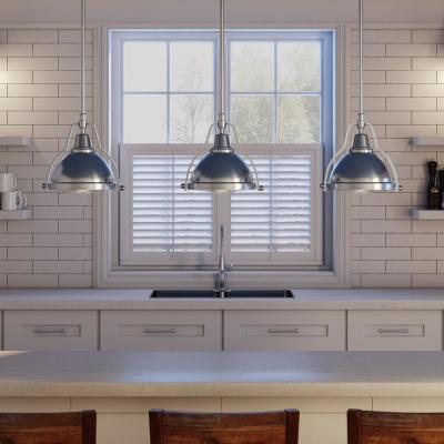 1-Light Brushed Nickel Mini Pendant with Shade and Clear Ribbed Glass