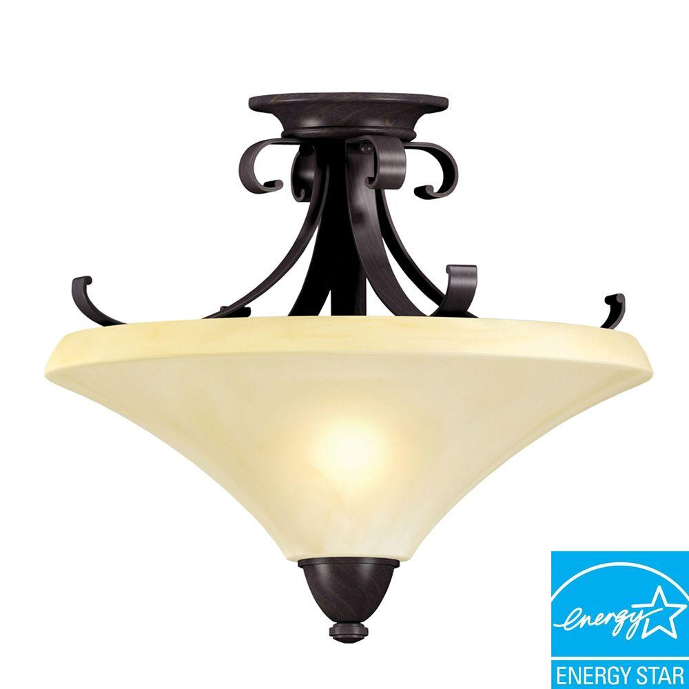 Aspects Swain 2-Light Oil-Rubbed Bronze Semi-Flush Mount Light