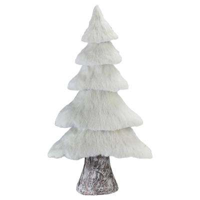 17.25 in. Small Rustic Birch Wood Tree with Faux Snow Canopy Christmas Decoration