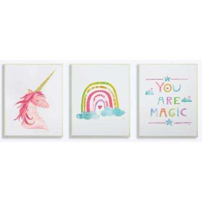 """10 in. x 15 in. """"You Are Magic Rainbow And Unicorn"""" by Wild Apple Printed Wood Wall Art"""