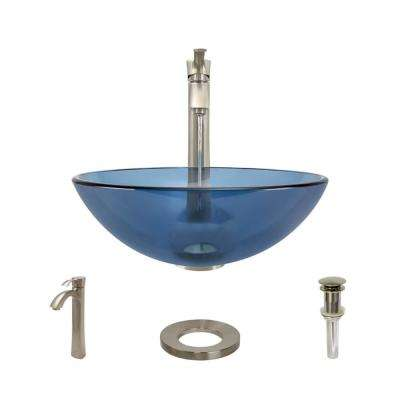 Glass Vessel Sink in Celeste with R9-7006 Faucet and Pop-Up Drain in Brushed Nickel