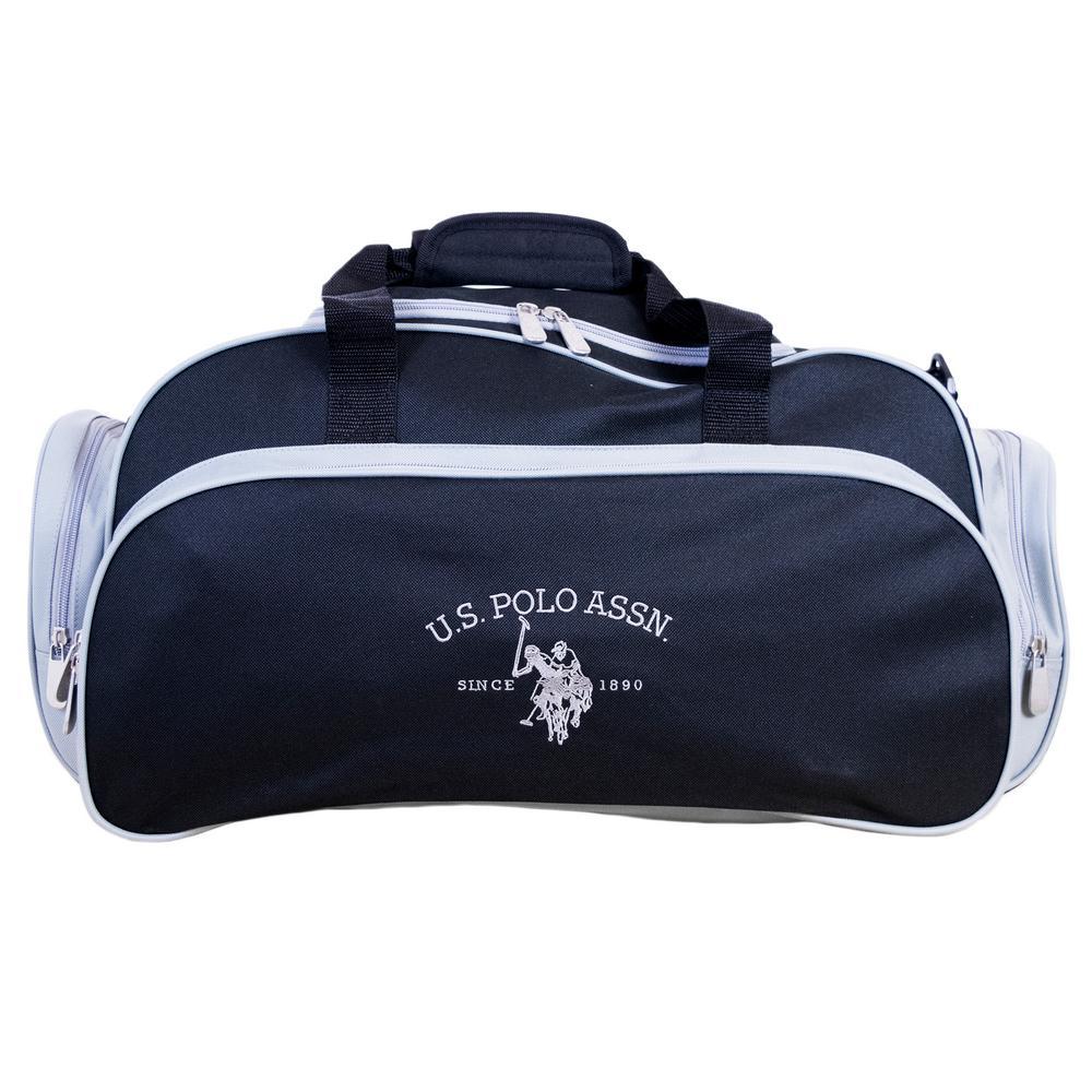 6aa5d7defe U.S. Polo Assn. Black Grey Nylon Duffel Bag with U-Shape  Opening-ABPE5085-003 - The Home Depot