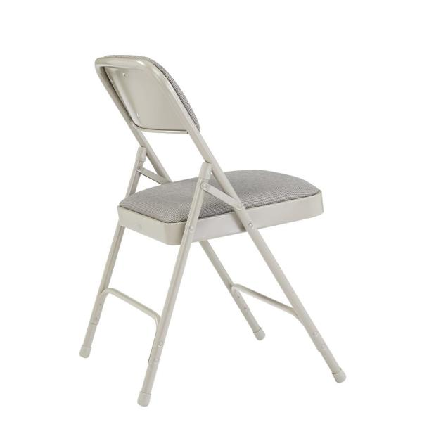 Gray Carton of 4 National Public Seating 50 Series All Steel Standard Folding Chair with Double Brace 480-Pound Capacity
