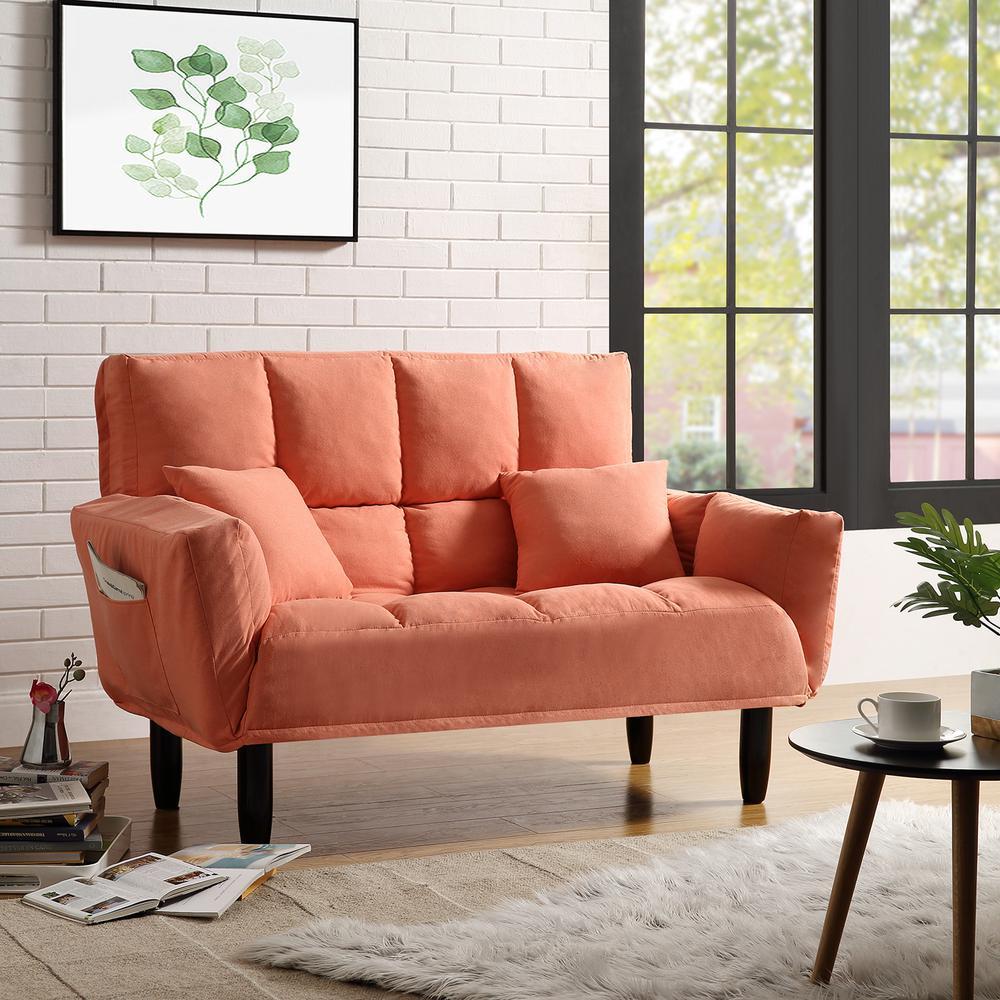 - Harper & Bright Designs Orange Twin Size Chic Loveseat Sleeper