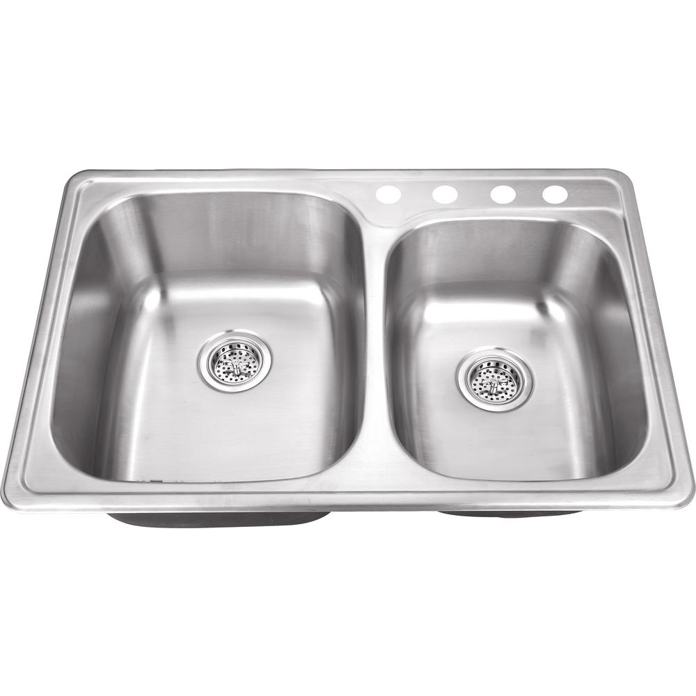 Drop In 33 in. 4-Hole Stainless Steel Double Bowl Kitchen Sink