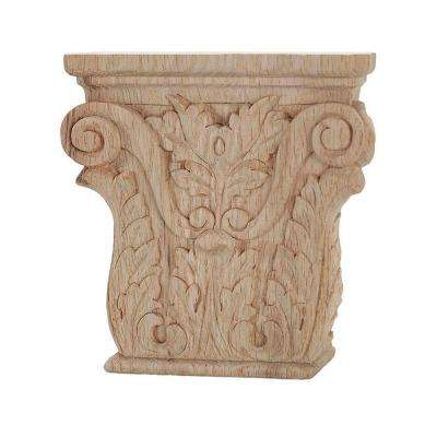6-1/4 in. x 6-1/8 in. x 1-1/4 in. Unfinished Hand Carved American Red Oak Acanthus Wood Onlay Capital Wood Applique
