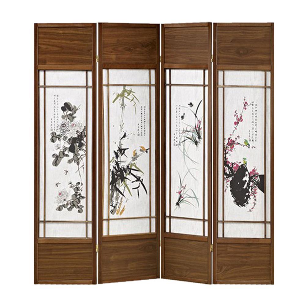 Shoji Wood Screen 6 ft. Brown 4-Panel Room Divider