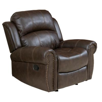 Brown Stitched Bonded Leather Gliding Recliner