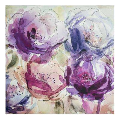 "24 in. x 24 in. ""Stitched Spring Blooms Embellished"" Printed Canvas Wall Art"