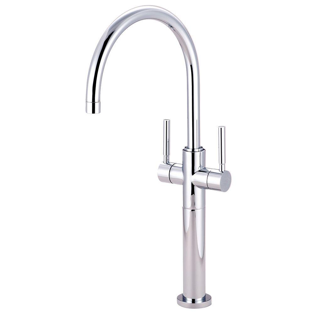 Kingston Brass Single Hole 2-Handle High-Arc Vessel Bathroom Faucet in Polished Chrome
