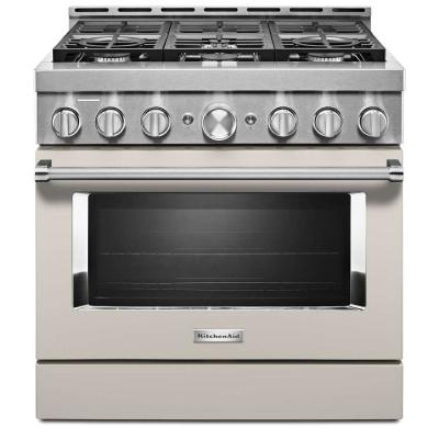 36 in. 5.1 cu. ft. Smart Commercial-Style Gas Range with Self-Cleaning and True Convection in Milkshake