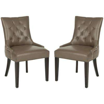 Abby Clay/Espresso Bicast Leather Side Chair (Set of 2)