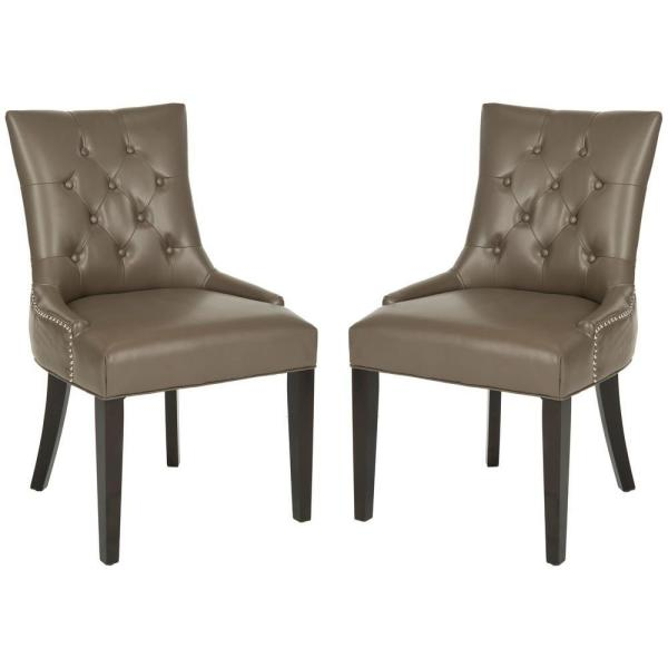 Safavieh Abby Clay/Espresso Bicast Leather Side Chair (Set of 2) MCR4701K-SET2