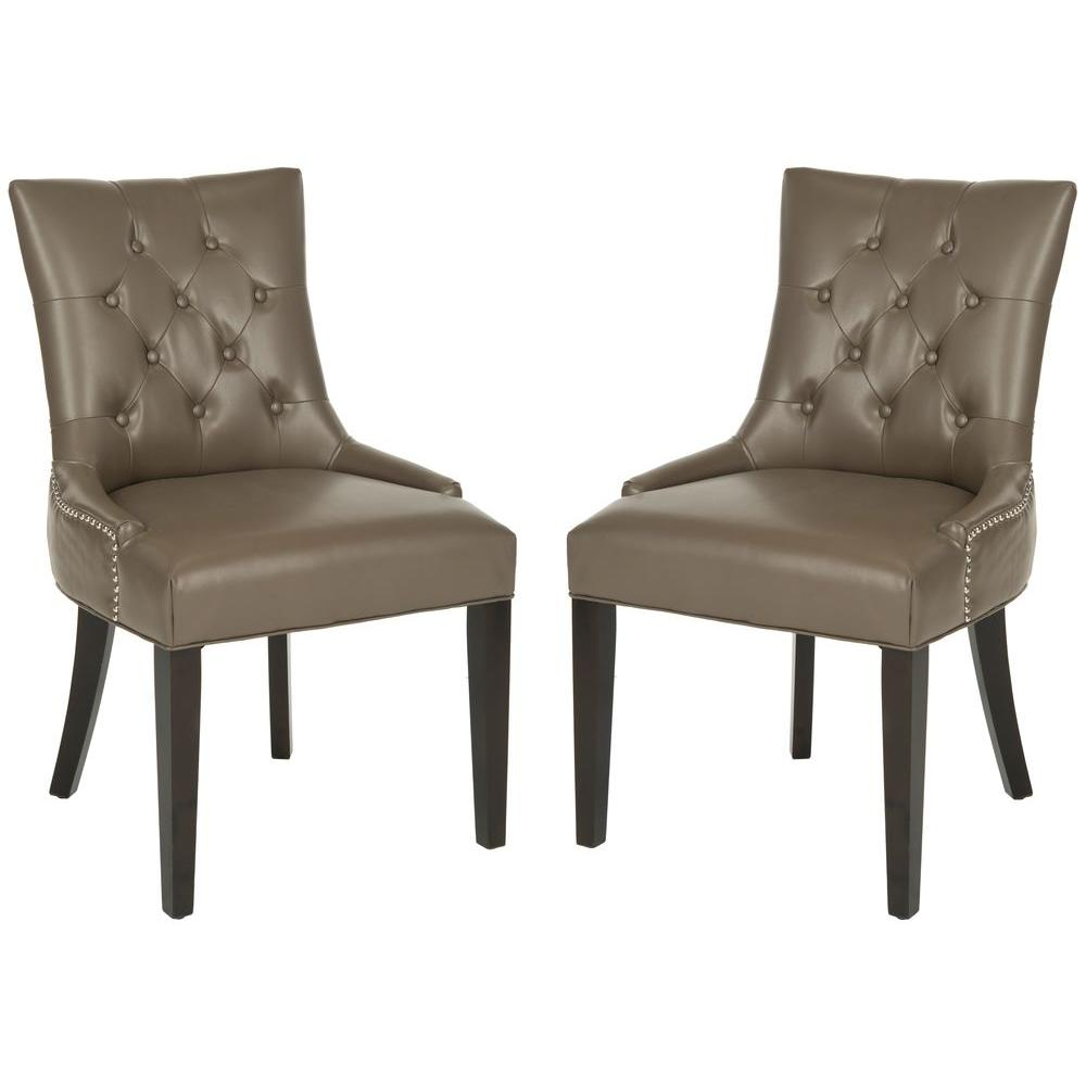 Abby Clay Bicast Leather Side Chair (Set of 2)