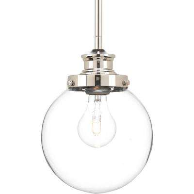 Penn 6.88 in. 1-Light Polished Nickel Mini Pendant with Clear Glass
