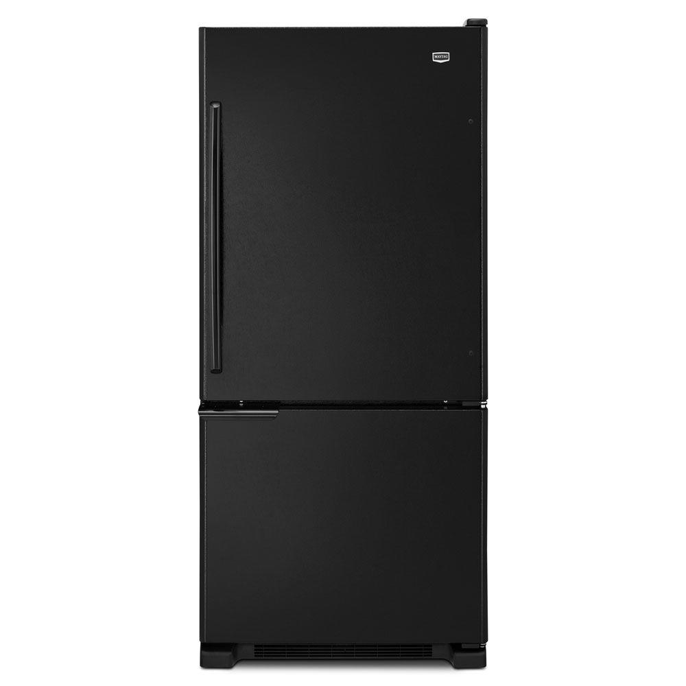 Maytag 30 in. W 18.5 cu. ft. Bottom Freezer Refrigerator in Black-DISCONTINUED