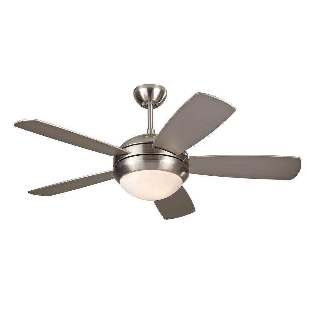 Monte Carlo Discus Ii 44 In Indoor Brushed Steel Ceiling Fan With Light Kit