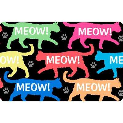 Printed Meow 17.5 in. x 26.5 in. Pet Mat