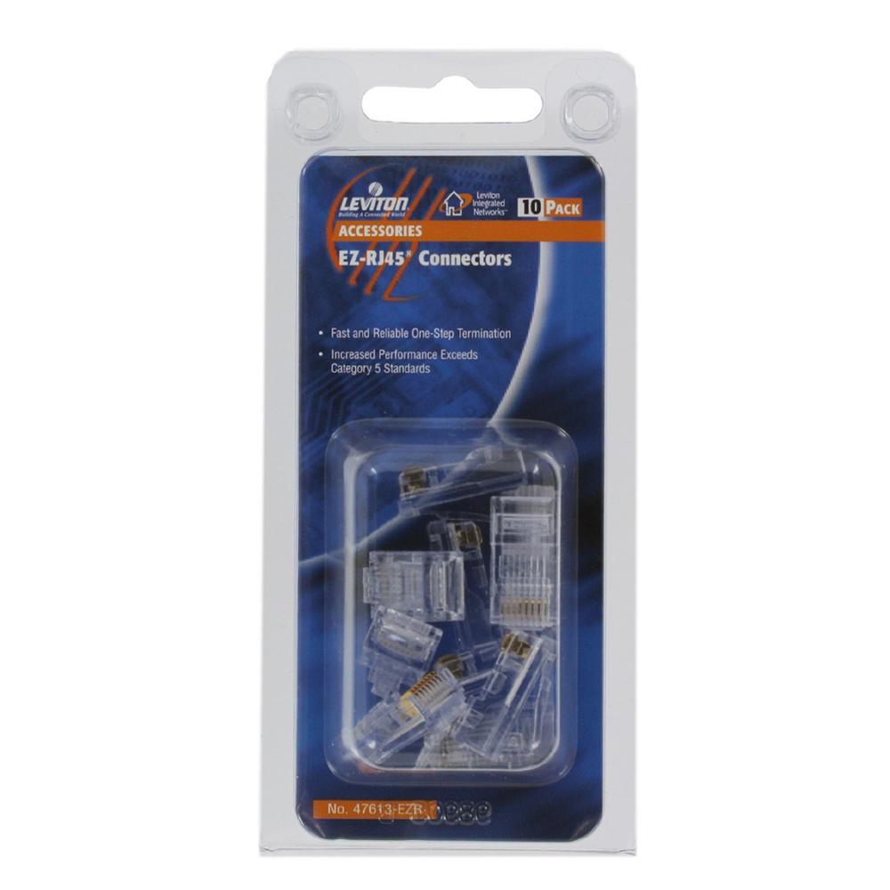 Leviton EZRJ45 Connectors Clear 10Pack47613EZR The Home Depot – Leviton Rj45 Jack Wire Diagram