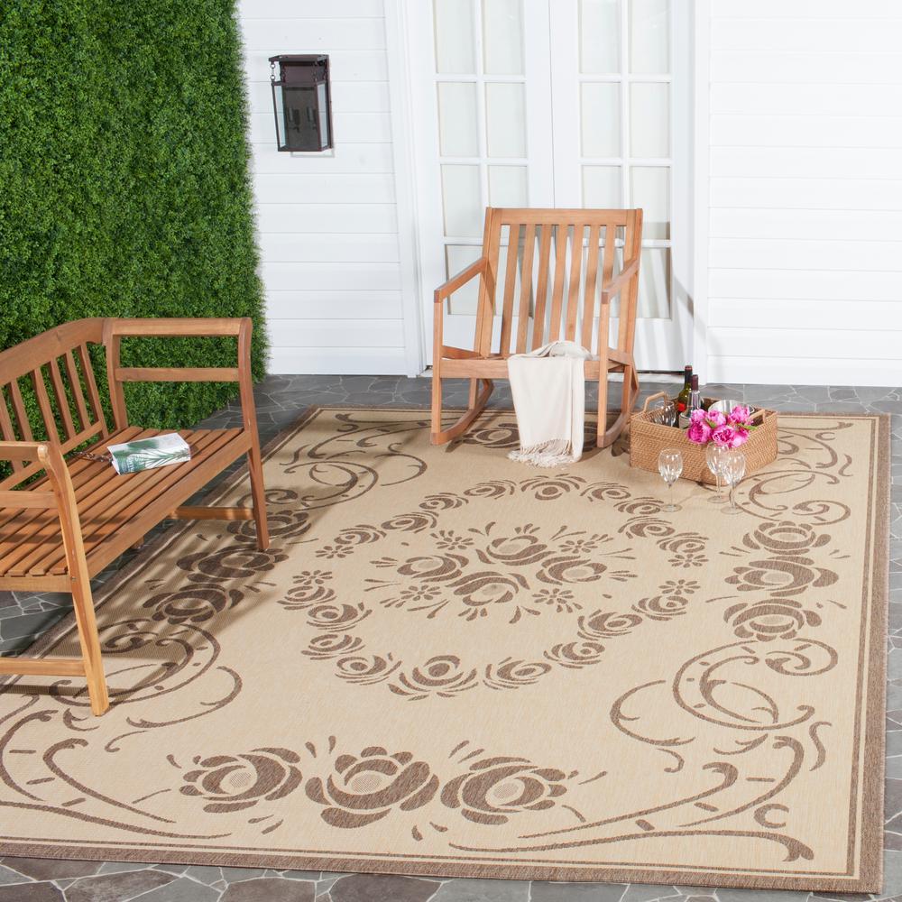 Safavieh Courtyard Natural/Brown 6 ft. 7 in. x 9 ft. 6 in. Indoor/Outdoor Area Rug
