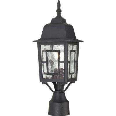 1-Light Outdoor Textured Black Post Light