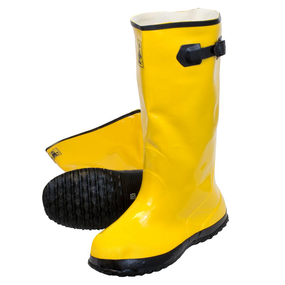 Men Slush Boots 17 in. Size 10 Yellow Heavy-Duty Rubber Over-Shoe