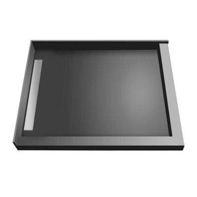 48 in. x 48 in. Double Threshold Shower Base with Left Drain and Tileable Trench Grate