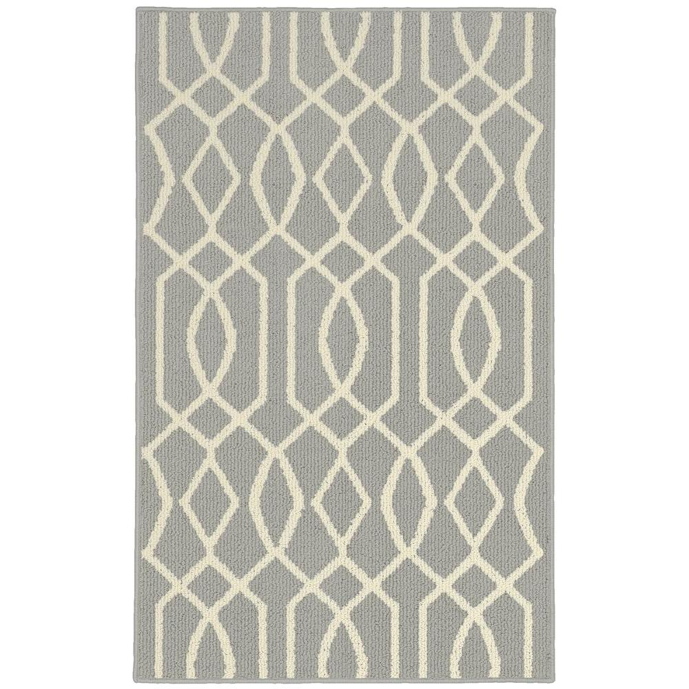 Garland Rug Fretwork Silver Ivory 2 Ft 6 In X 3 Ft 10 In Accent Rug Ll380w030046d1 The