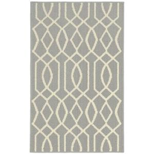 Garland Rug Fretwork Silver/Ivory 2 ft. 6 inch x 3 ft. 10 inch Accent Rug by Garland Rug