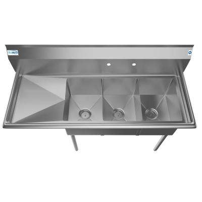 Freestanding Stainless Steel 55 in. 2-Hole Triple Bowl Commercial Kitchen Sink