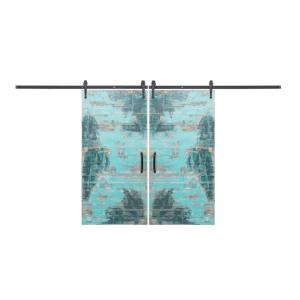 Rustica Hardware Bi-Parting 42 inch x 84 inch Rustica Reclaimed Aqua Barn Doors with Flat black Arrow Sliding... by Rustica Hardware