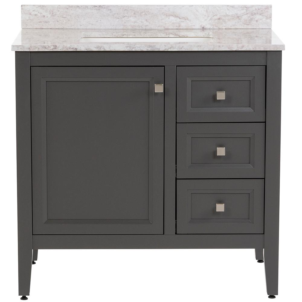 MOEN Darcy 37 in. W x 22 in. D Bath Vanity in Shale Gray with Stone Effects Vanity Top in Winter Mist with White Sink