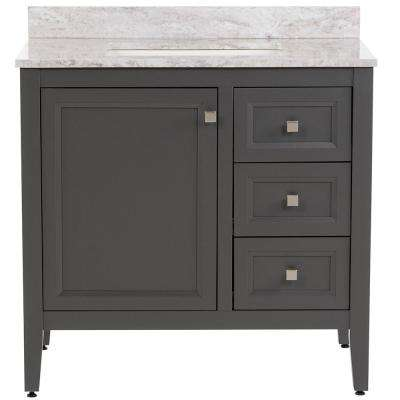 Darcy 37 in. W x 22 in. D Bath Vanity in Shale Gray with Stone Effects Vanity Top in Winter Mist with White Basin