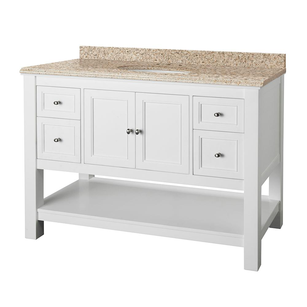 Home Decorators Collection Gazette 49 in. W x 22 in. D Vanity in White with Granite Vanity Top in Beige with White Sink