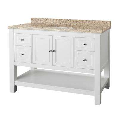 Gazette 49 in. W x 22 in. D Vanity in White with Granite Vanity Top in Beige with White Sink