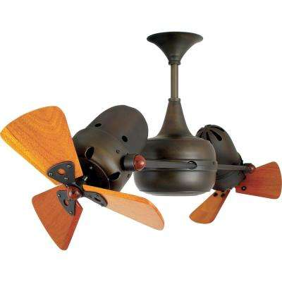 Duplo-Dinamico 36 in. Indoor Bronze Ceiling Fan with Wall Control