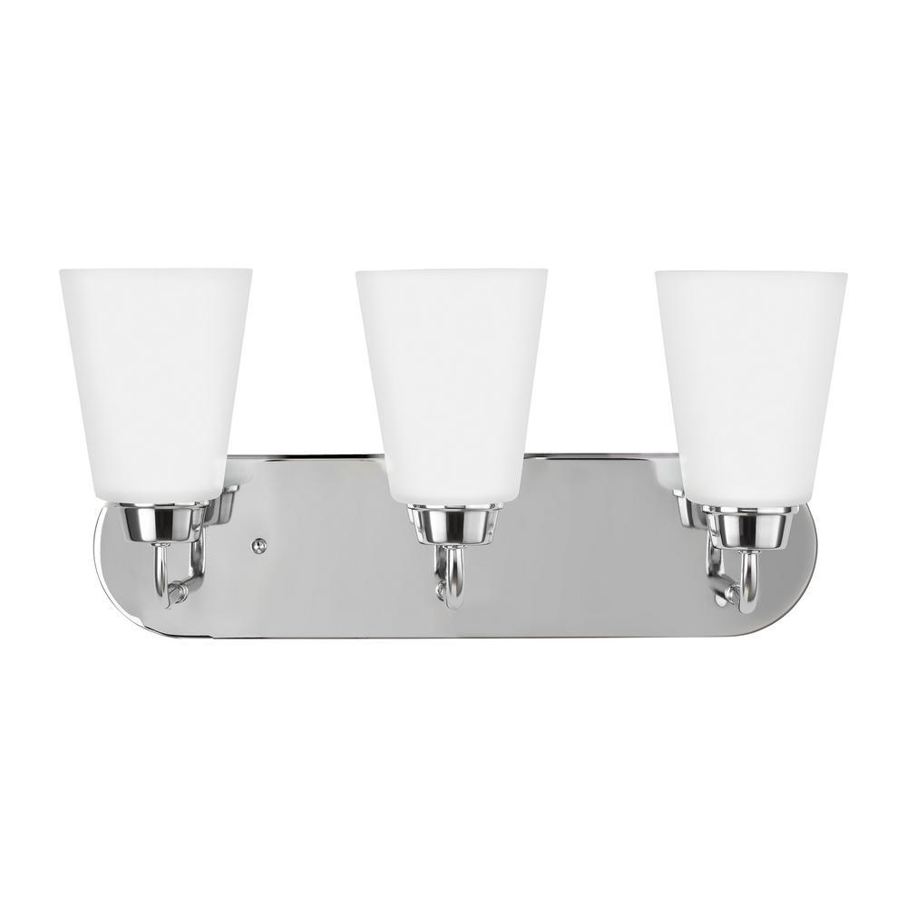 Kerrville 3-Light Chrome Bath Light with LED Bulbs