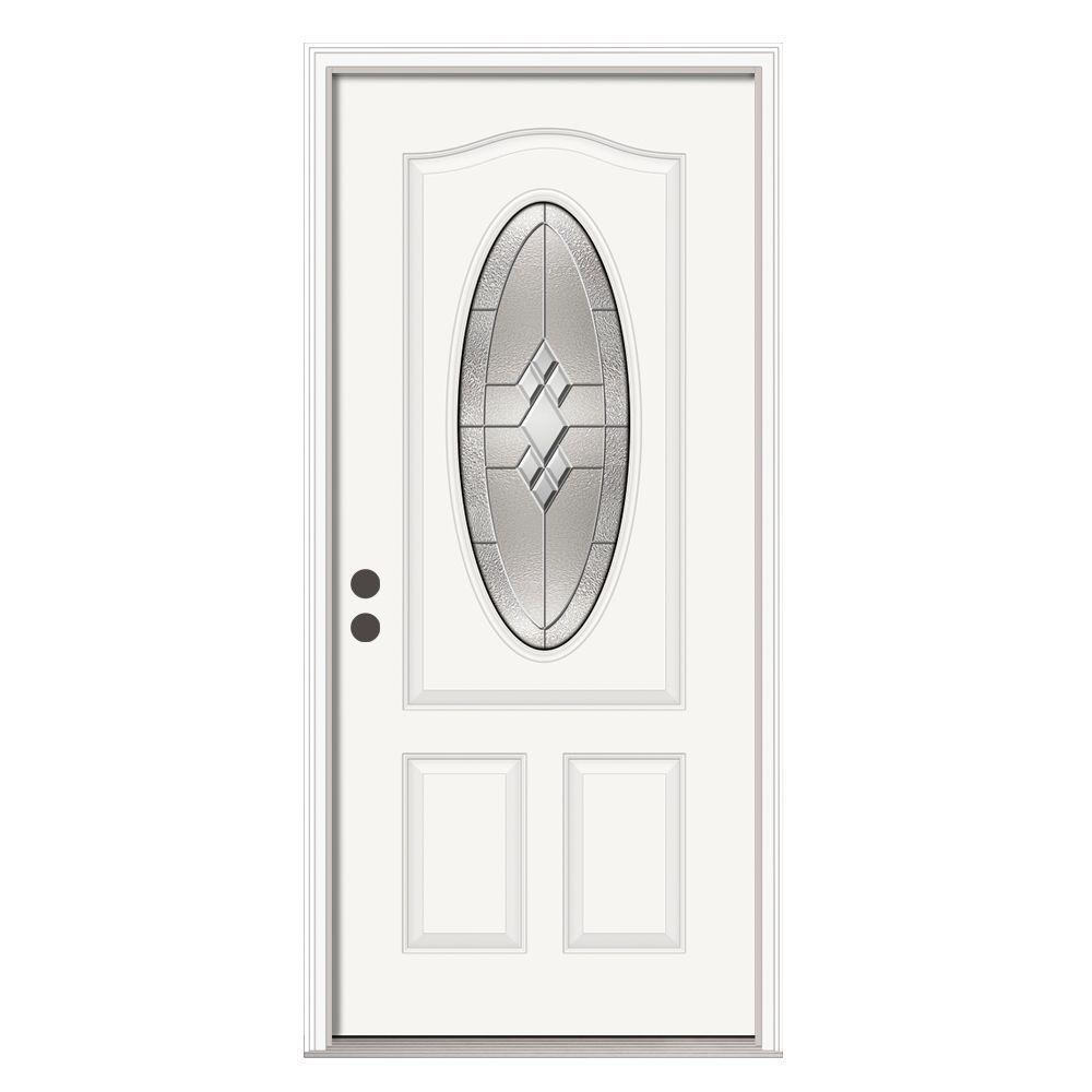 36 in. x 80 in. 3/4 Oval Lite Kingston Primed Steel Prehung Right-Hand Inswing Front Door w/Brickmould