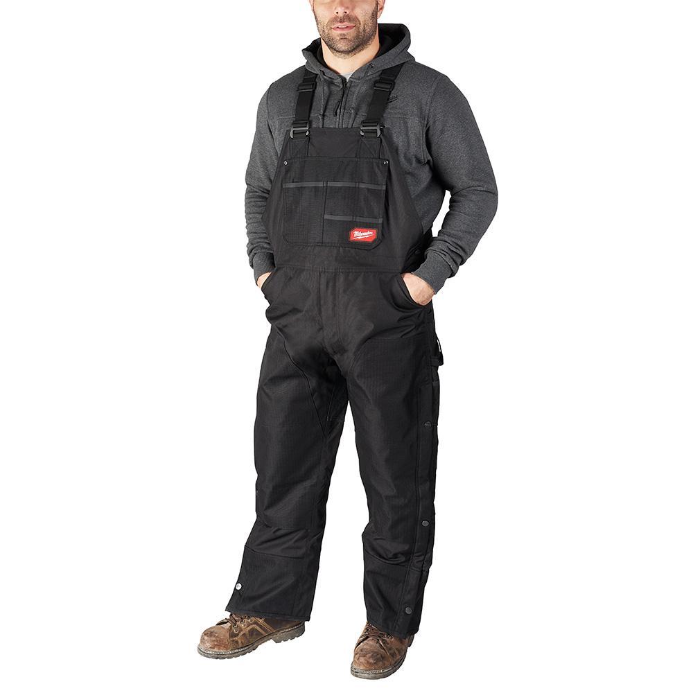 Men's Gridiron Large Black Zip-to-Thigh Bib Overall