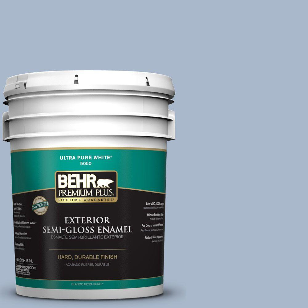 5-gal. #HDC-SP14-10 Blue Tribute Semi-Gloss Enamel Exterior Paint