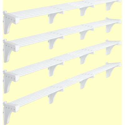 40 in. - 75 in. Expandable Large Garage Shelf in White (Set of 4)