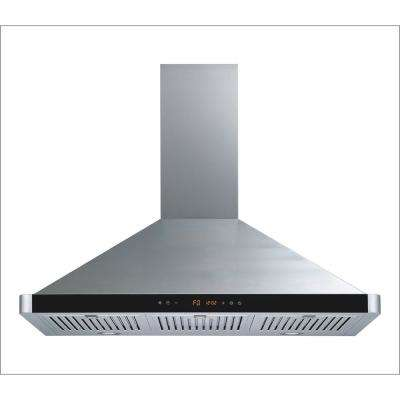 36 in. Convertible Wall Mount Range Hood in Stainless Steel with Touch Control LED Lights and Baffle Filters