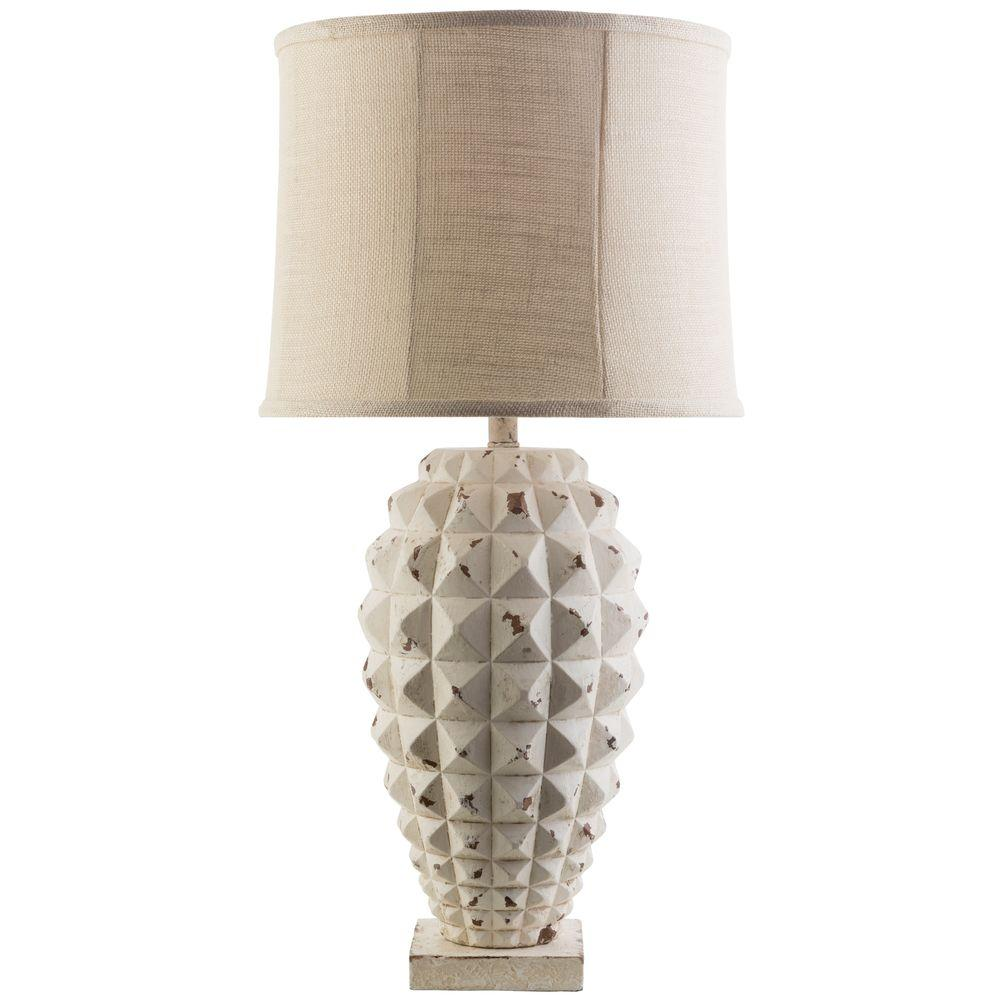 Claude 33 in. White Wash Indoor Table Lamp