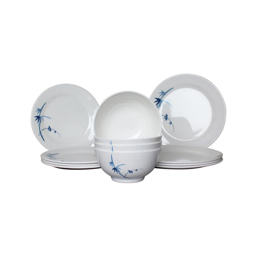 Restaurant Essentials 12-Piece Blue Bamboo Dinnerware Set