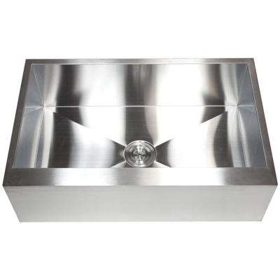 Farmhouse Flat Apron-Front 30 in. x 21 in. x 10 in. Stainless Steel 16-Gauge Single Bowl Zero Radius Kitchen Sink