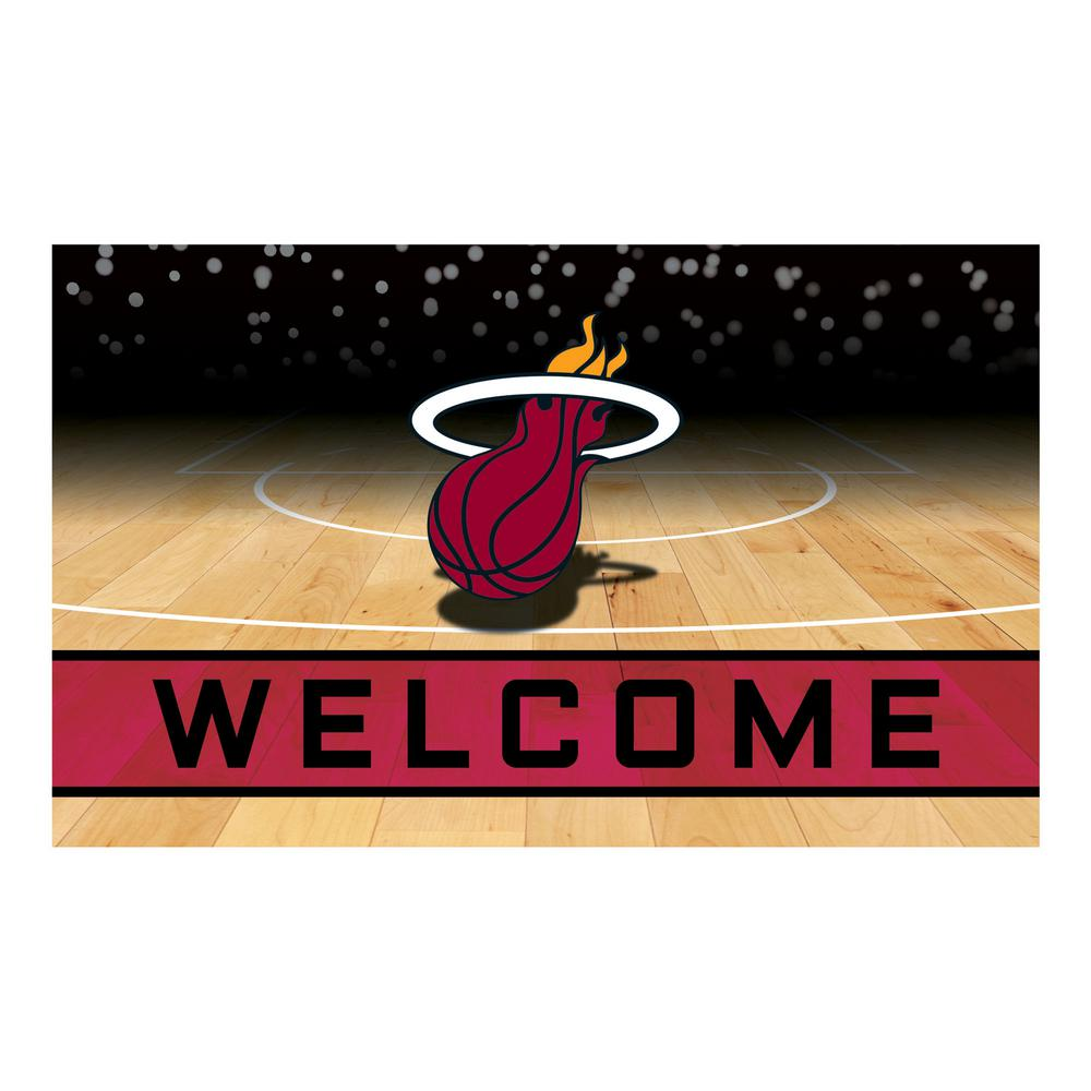 Fanmats Nba Miami Heat 18 In X 30 In Rubber Door Mat 21955 The