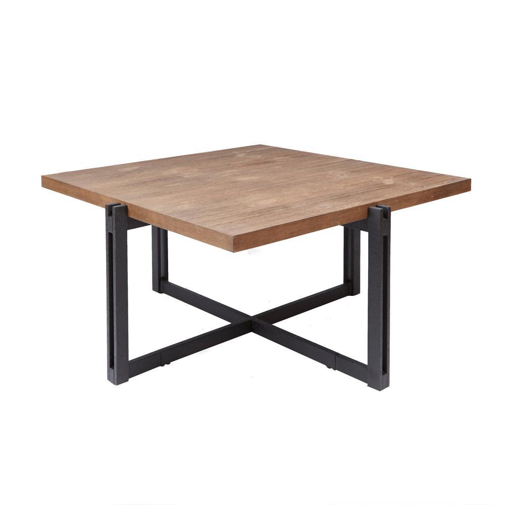 Dakota Gray and Brown Square Wood Top Coffee Table