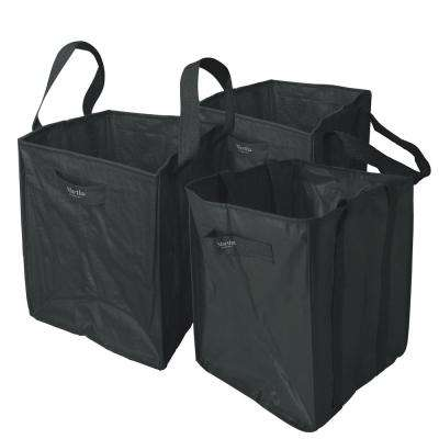 48 Gal. Multi-Purpose Heavy-Duty Garden Tote Bag in Black with Reinforced Shoulder Straps and Side Handles (3-Pack)