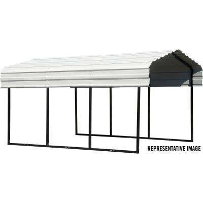10 ft. x 20 ft. x 7 ft. Galvanized Black/Eggshell Steel Carport